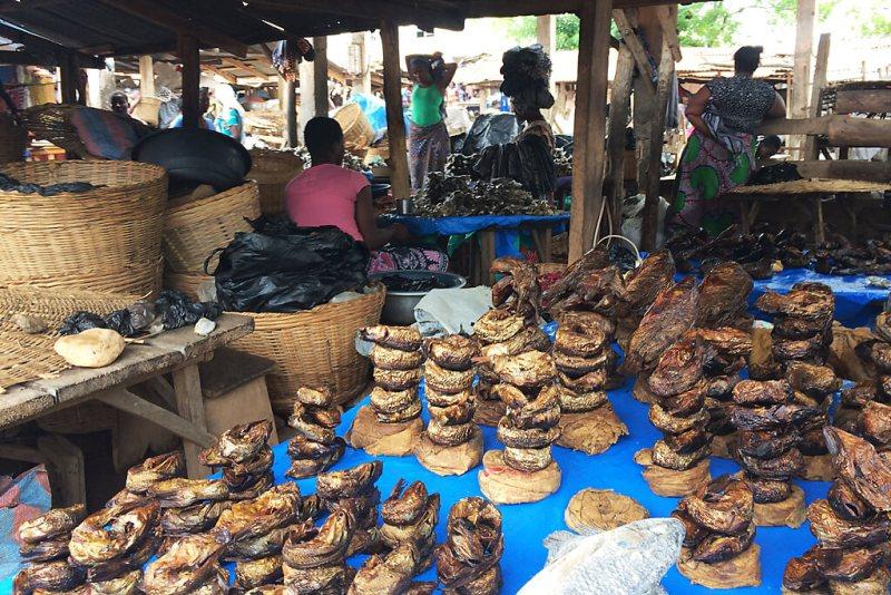 Fischstände auf dem Grand marché von Kpalimé