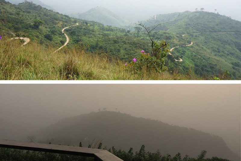 Ausblick vom Plateau Danyi mit und ohne Harmattan
