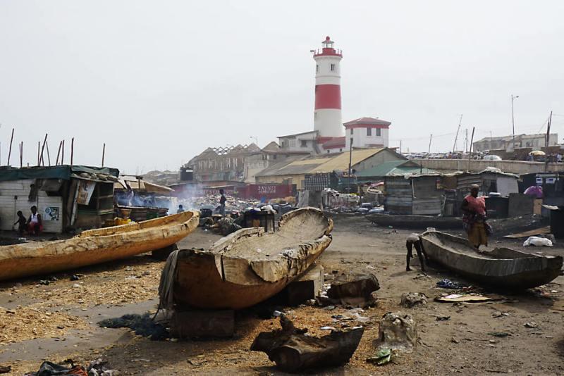 Altes Fischerdorf von Ghana in Accra