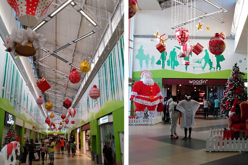 Weihnachtlich dekorierte Shoppingmall in Abidjan