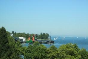 Die Seebühne vom Panoramaraum des vorarlberg museums aus.