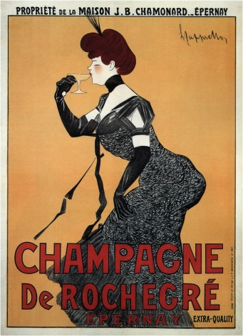 vintage champagne de rocher epernay advertising poster