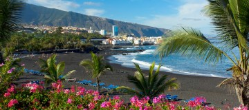 Playa Jardin, Puerto de la Cruz, Tenerife, Spanje.