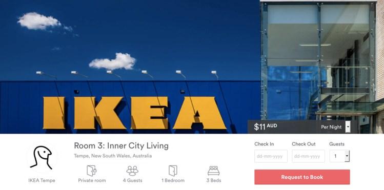 Airbnb biedt overnachting aan bij IKEA