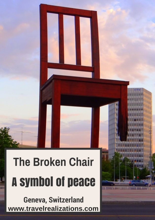 This 12 meter high, broken chair, in front of European headquarters of the United Nations in Geneva, Switzerland echoes a simple message; remember the victims of land mines,urge your government to promote a ban on land mines. #Switzerland #Travel