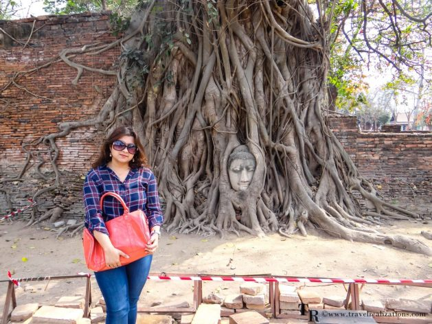 """The imprints of time at """"Wat Maha That"""" in Ayutthaya, Thailand, Travel Realizations, Buddha head inside trees, chirasree banerjee"""