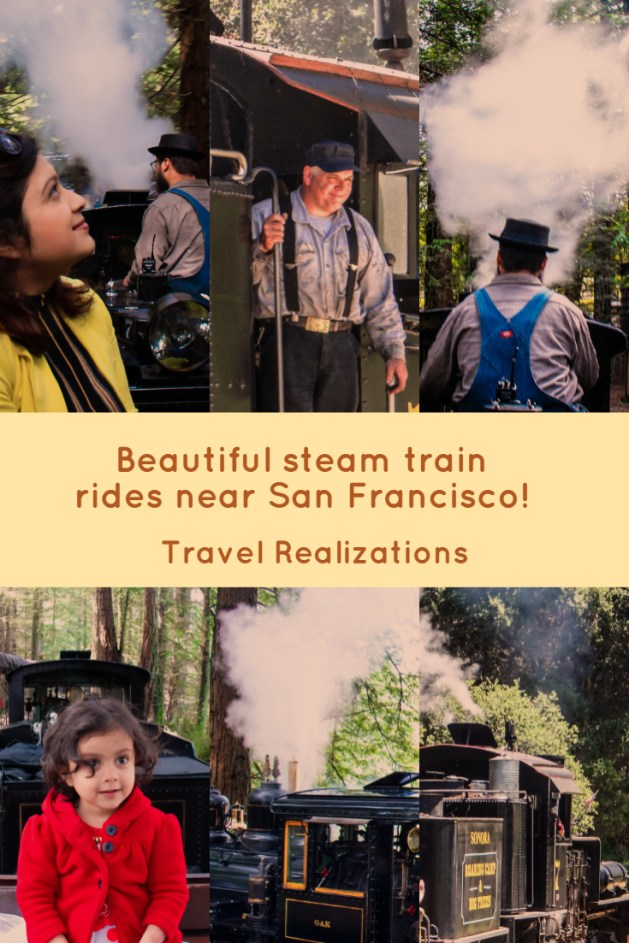 Beautiful steam train rides near San Francisco gifted me exhilarating delights when I saw the curls of silent white steam winding its way through the leaves of the redwood trees. Steam train rides are akin to a fairy tale ride, where enthusiasm overflows into excitement both for a child and an adult, #Travel #SteamTrain #SteamTrainRide #SanFrancisco #California #TravelBlog
