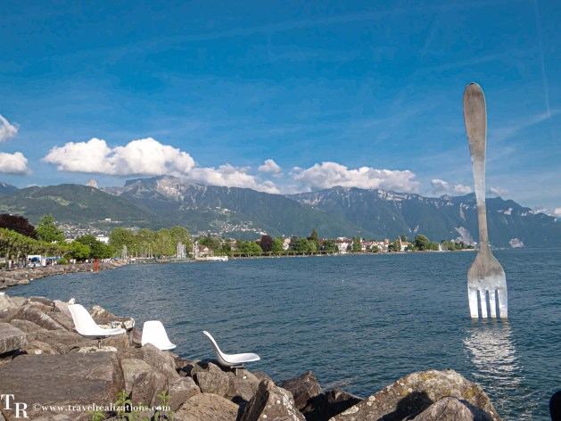 A giant stainless steel fork, vevey, Switzerland, Travel Realizations