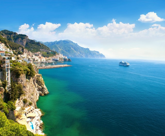 Panoramic view of the small town and the sea. Italy, Amalfi.