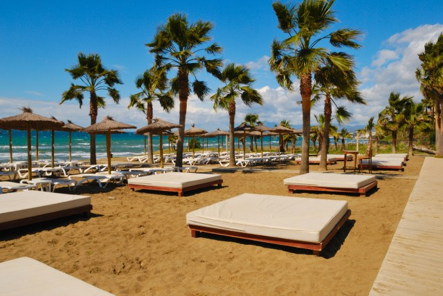 Lonely sunbeds and umbrellas beach in a windy day in beach resort located in Marbella (Spain)