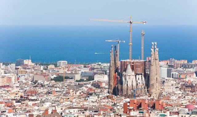 An aerial view of La Sagrada Familia