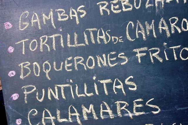 A menu in Spanish