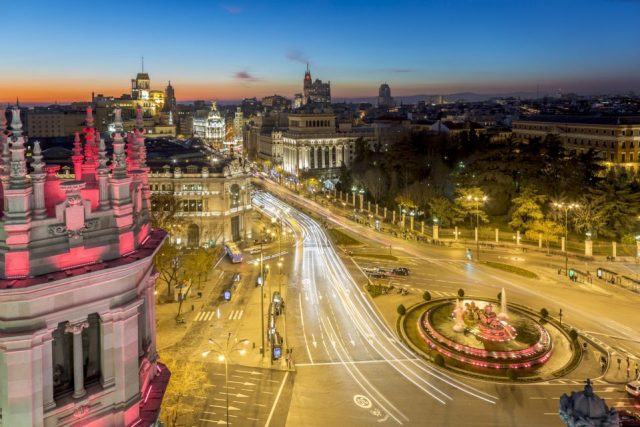 Night time view over Cibeles, Madrid, Spain.