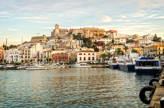 An evening shot of marina, Ibiza Town & the Dalt Villa (the old fortress city on the hill side). At the top of the Dalt Villa you can see the beautiful cathedral.