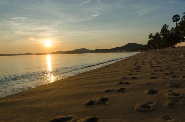 Sunrise at bophut beach ,samui thailand