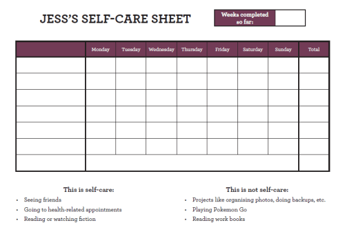 self-care sheet