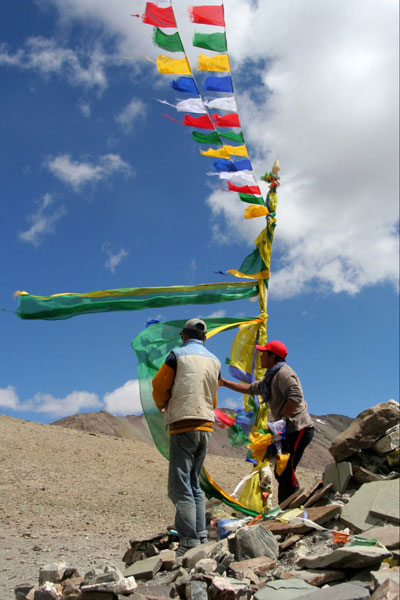 markha valley trek on a budget flags ladakh india