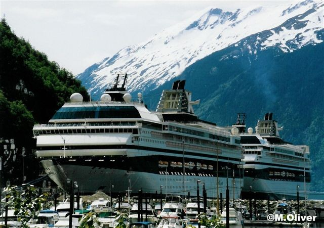 Sisters, Mercury & Galaxy in Skagway, May 1998.