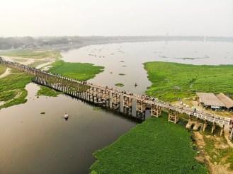 U-Bein-Brücke Amarapura Luftaufnahme