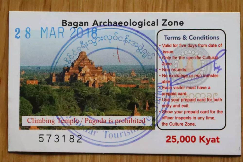 Bagan Zone Fee Ticket