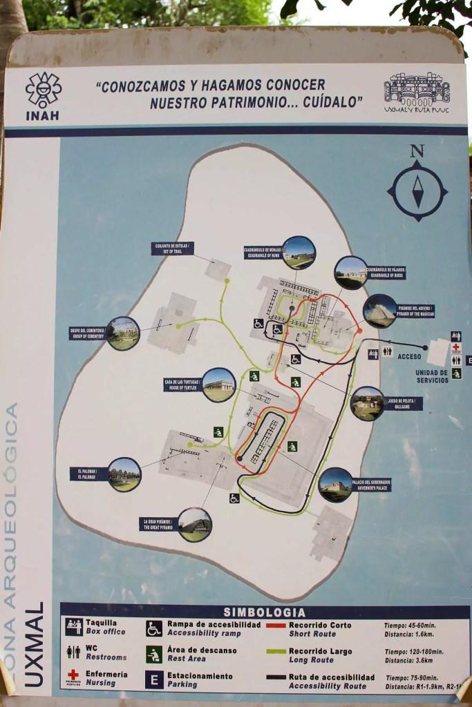 Uxmal Ruinen Map
