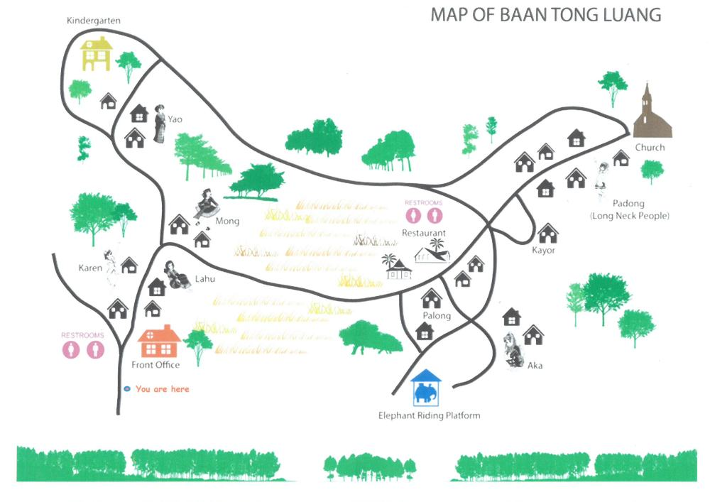 Karen Long Neck Village Map / Karte (Baan Tong Luang)