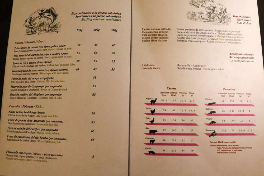 Speisekarte Zig Zag Restaurant in Arequipa