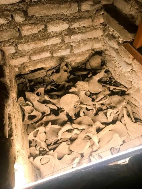 Beckenknochen in den Katakomben
