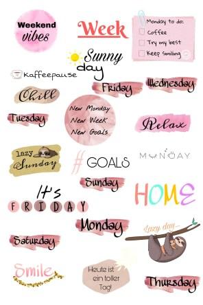 Story Sticker Wochentage