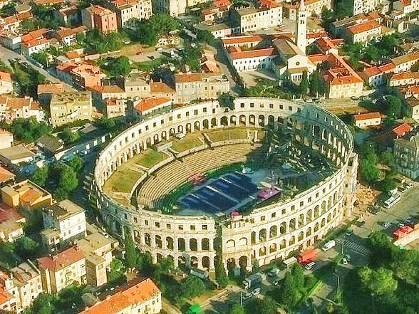 The impressive Amphitheatre at Pula - The Arena