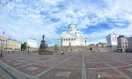 Helsinki main square with Tuomiokirkko Lutheran Cathedral