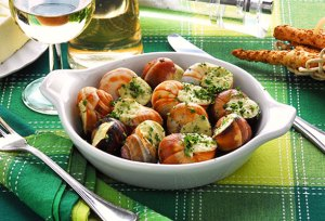 Escargots de Bourgogne, with garlic and butter