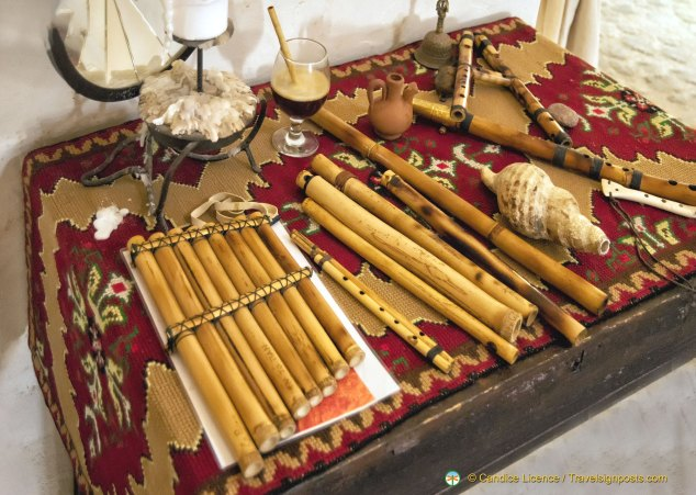 Wind instruments including a bone flute that is several thousand years old