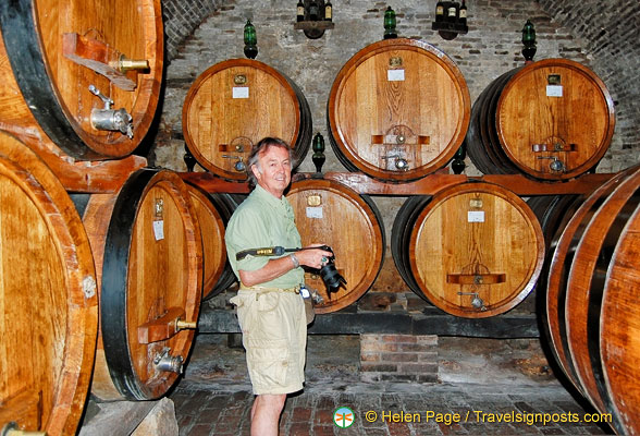 Tony checks out the wine barrels at the Contucci Cellars in the Piazza Grande