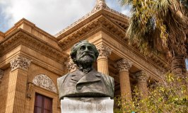 Verdi's bust in front of the Palermo Opera House