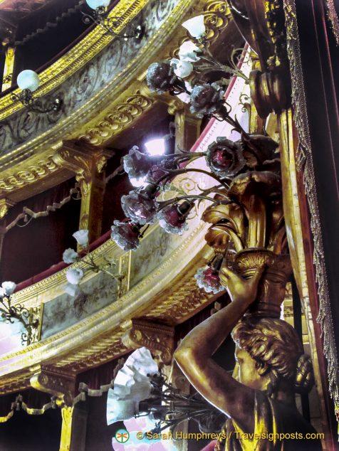 Ornate auditorium at the Teatro Massimo