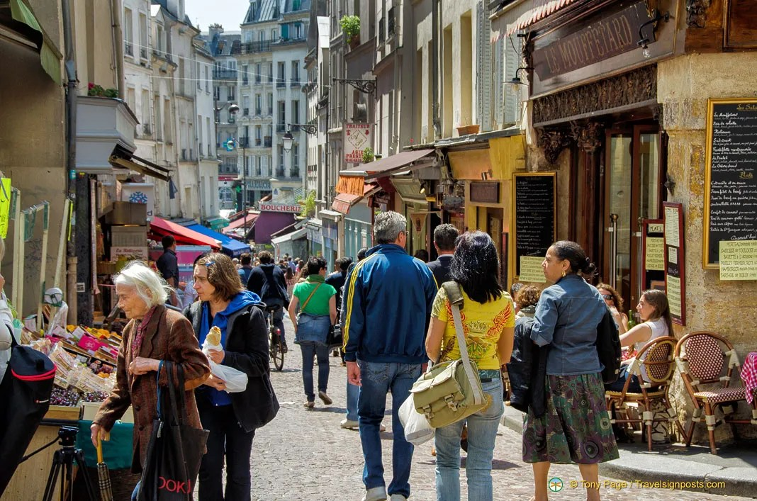 Rue Mouffetard - A Lively and Busy Food Street