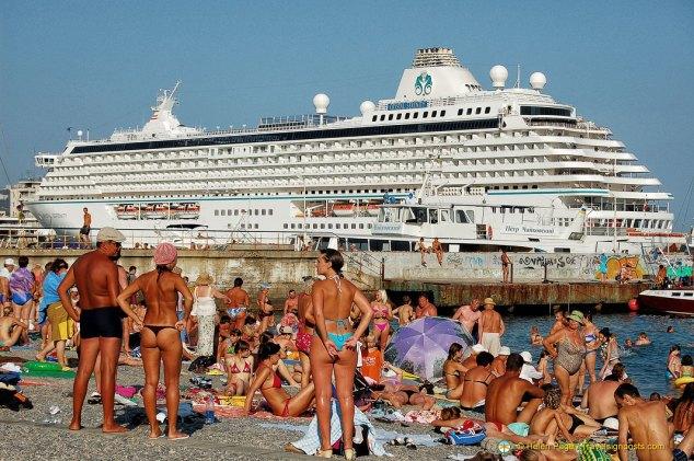 Sunbathing on Yalta's Pebble Beach, Ukraine