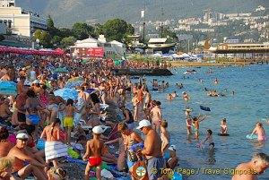 Sunbathing on Massandra Beach, Yalta