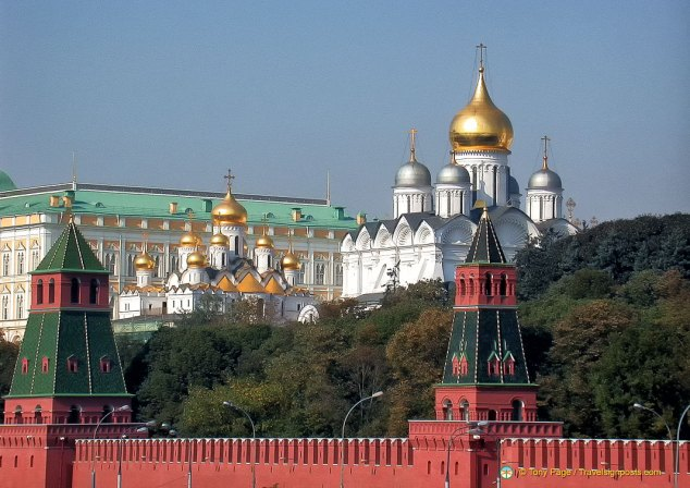 The red walls and golden domes of the Kremlin, Moscow
