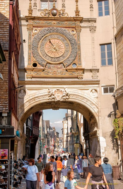 Under the Clock Tower into Rouen's main street.