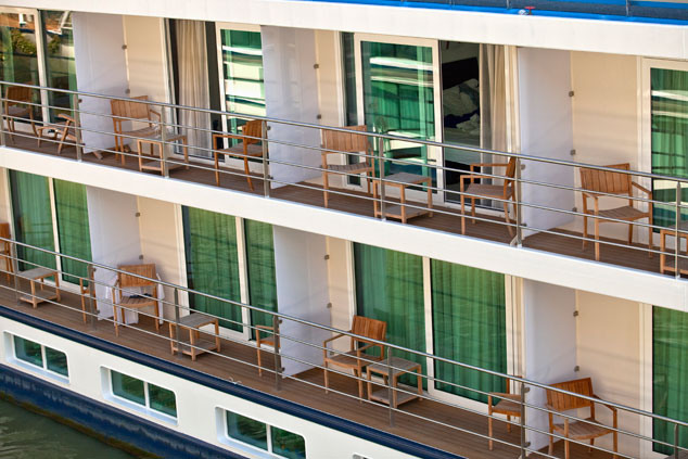 Scenic riverboat balconies