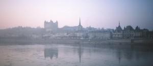 Saumur on the Loire River, France .