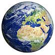 Earth globe showing Europe