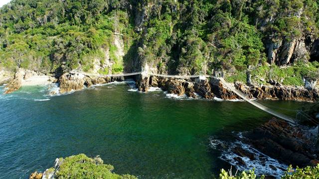 Camping in the Tsitsikamma National Park affords you magnificent views like this one at Storms River Mouth.