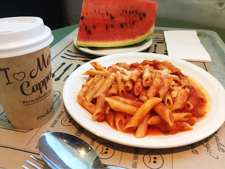 Penne Pasta eating in Italy
