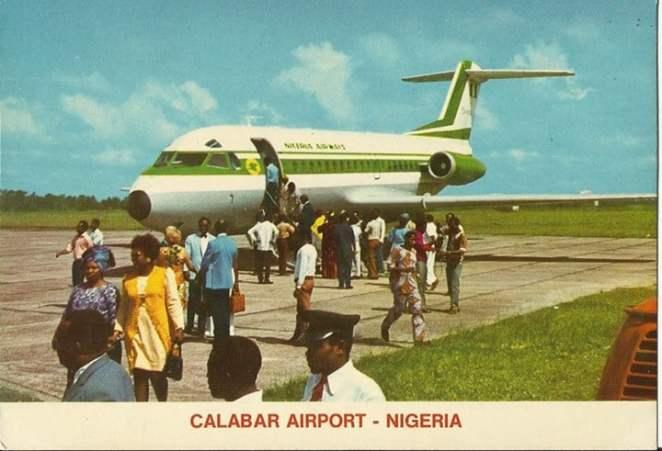 Nigeria Airways Fokker 28 at Calabar airport 1970s
