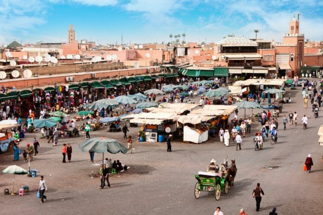 Djemaa el Fna - square and market place in Marrakesh's medina qu