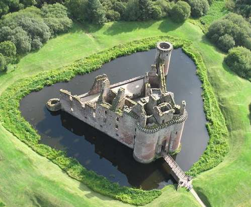 view from above caerlaverock castle
