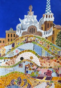 Beautiful rendition of Park Guell in Barcelona, Spain